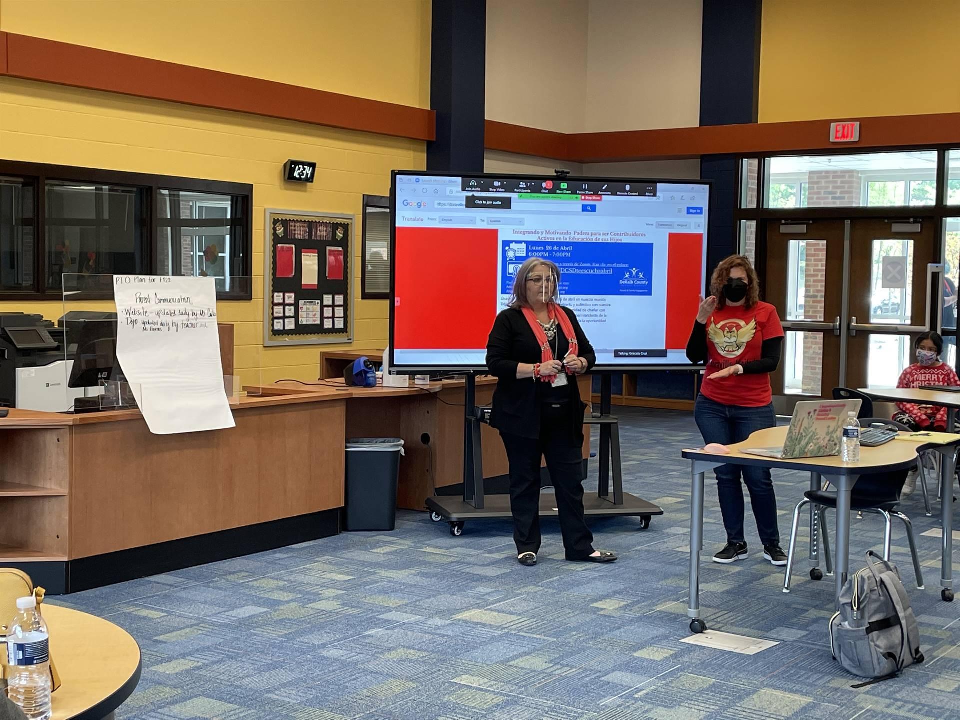 Mrs. Barrios and Ms. Cruz present at parent meeting