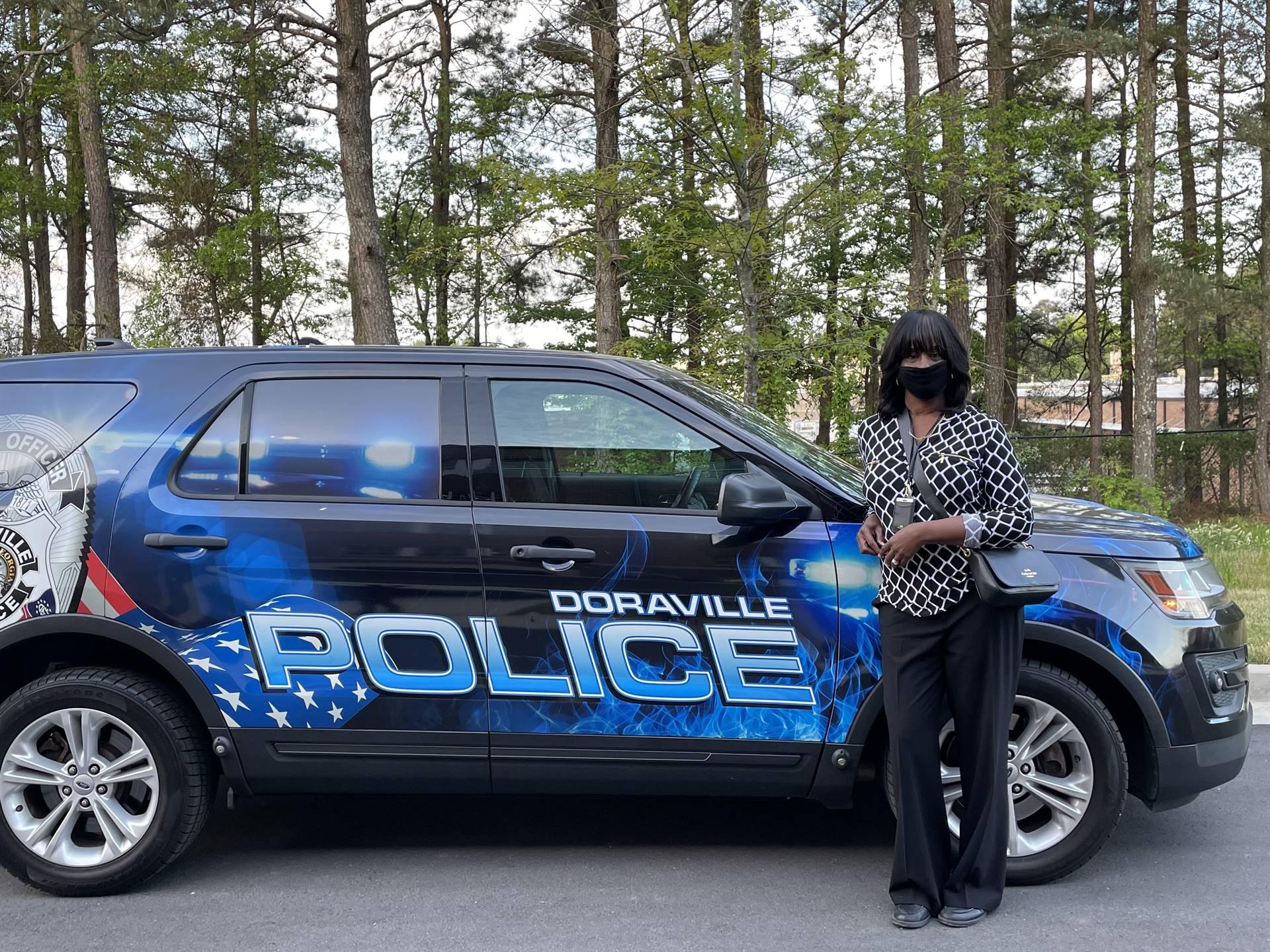 Dr. Jackson with Doraville police car
