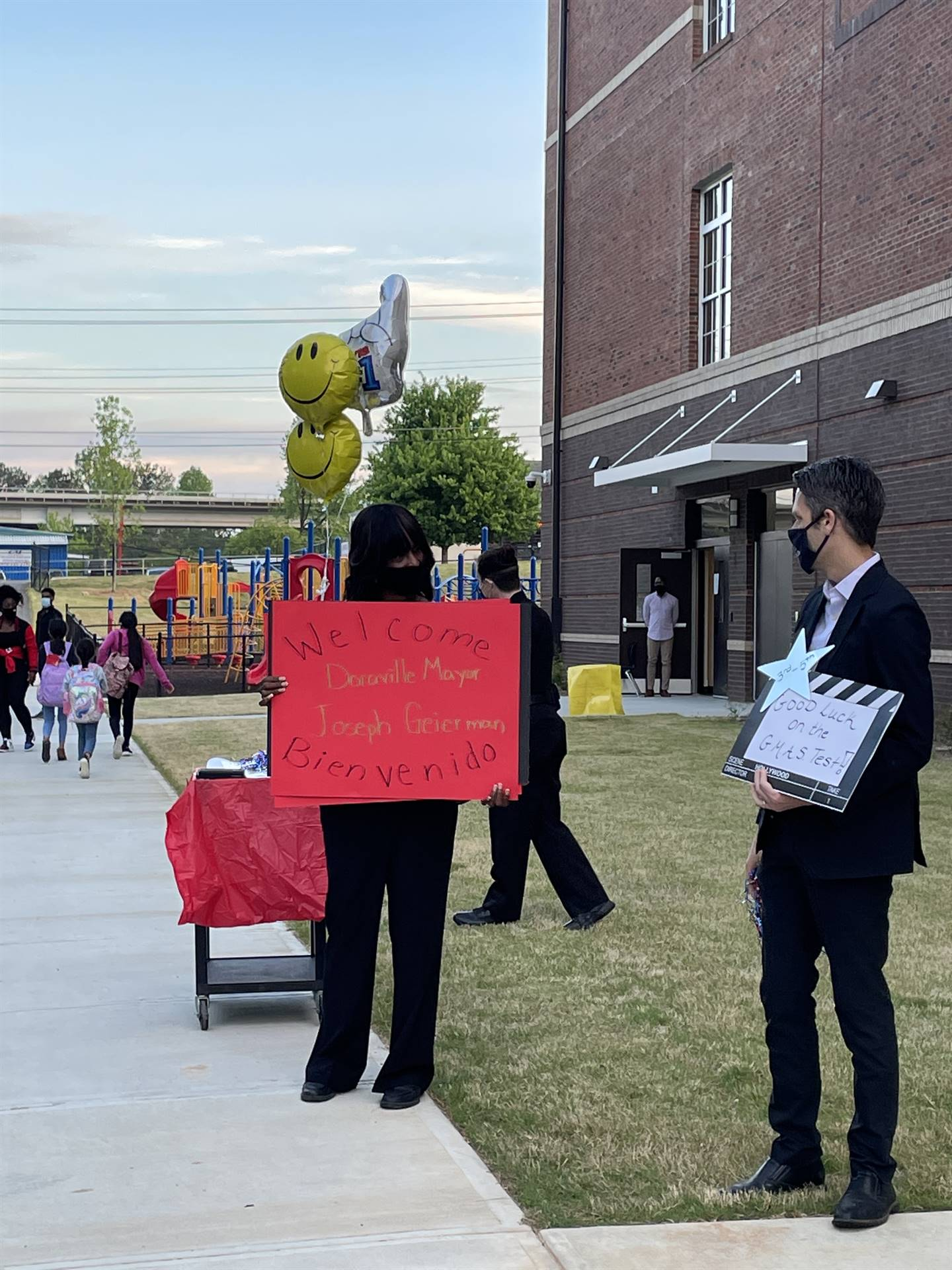 Welcoming students on first day of GMAS testing